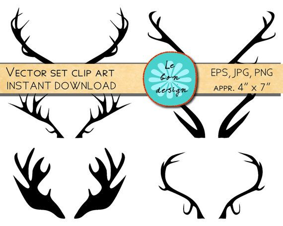 570x456 Printable Art Antlers Clip Art Deer Antler Print Christmas