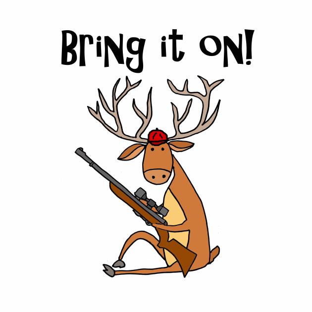 630x630 Funny Funky Deer Buck With Hunting Rifle Cartoon