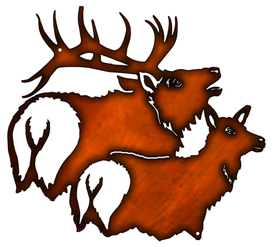 552x500 Buck And Doe Deer Cut Out Faux Copper Finish Metal Sign