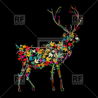 400x400 Stylized Deer In Colors Royalty Free Vector Clip Art Image