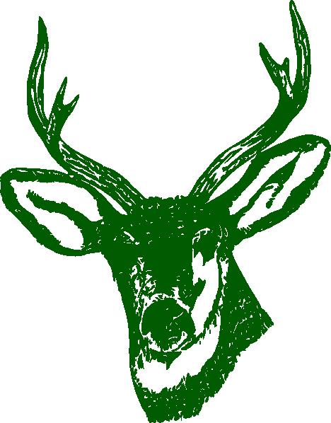 468x598 Green Stag Head Clip Art