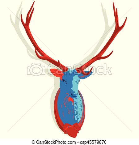 450x469 Popatr Mounted Deer Head. Stuffed Stag Antlers. Hunting Vectors