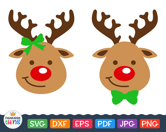 570x456 Rudolph Svg Santa Reindeer Head With Red Nose Svg Christmas Clip
