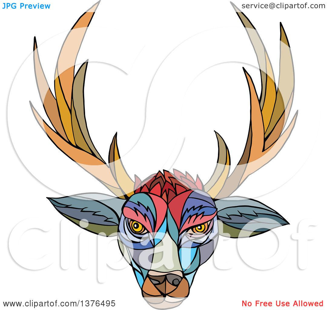 1080x1024 Clipart Of A Colorful Mosaic Stag Deer Head With Antlers