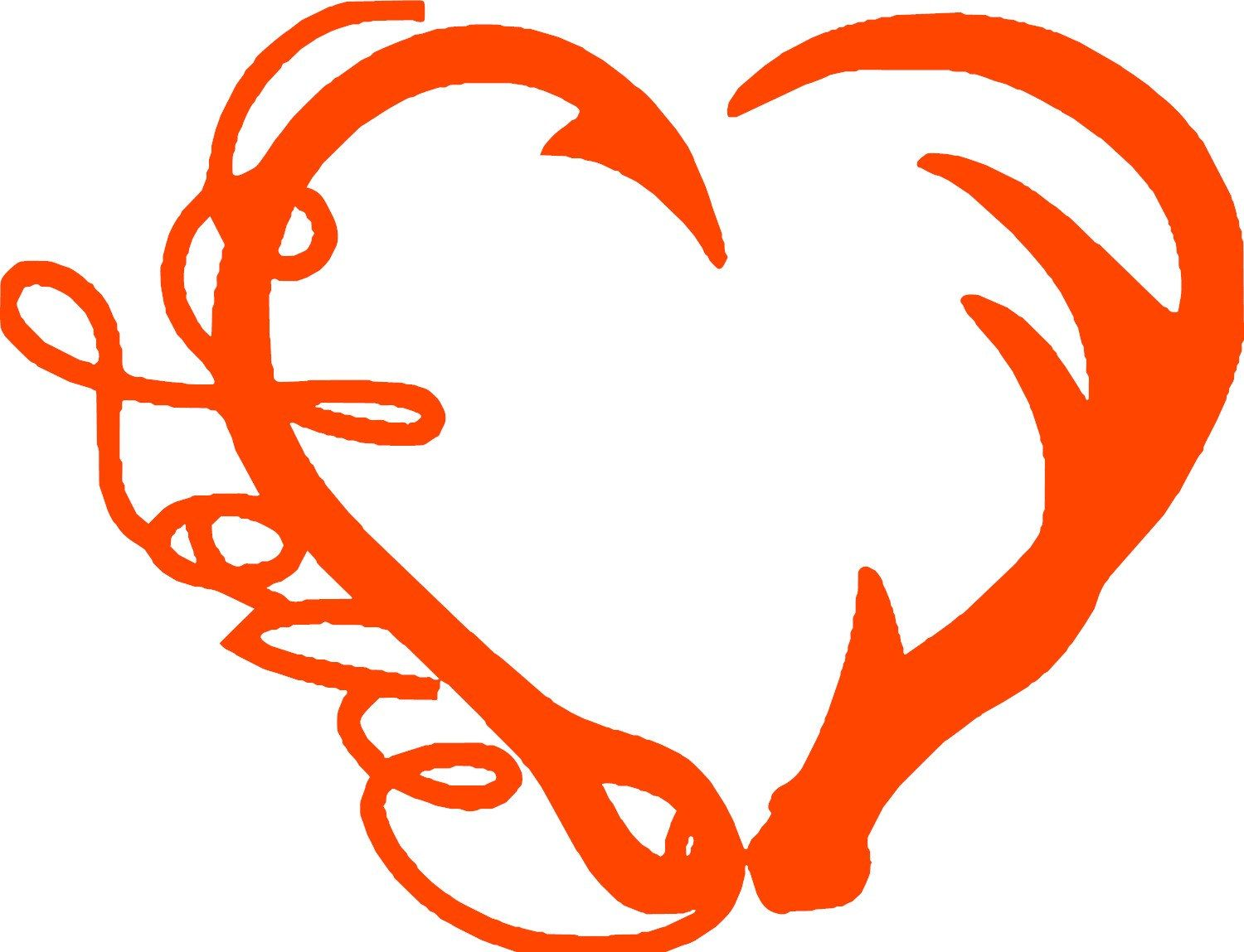 1500x1149 Love Fishing And Deer Hunting Heart, Hook And Antler Heart By