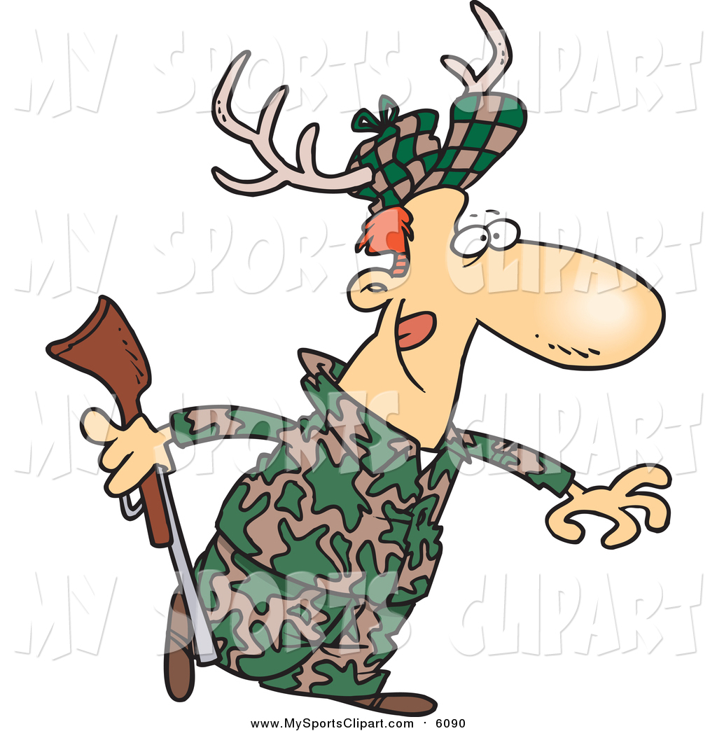 1024x1044 Sports Clip Art Of A Cartoon White Male Deer Hunter Wearing