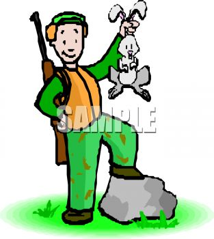 313x350 Royalty Free Clip Art Image Proud Hunter Showing Off His Prize