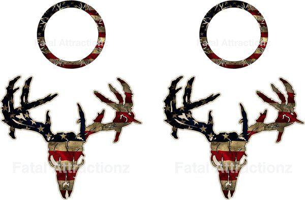 600x395 Distressed American Flag Zombie Deer Skull Cornhole Pack