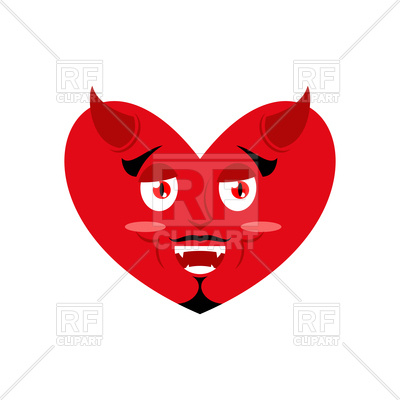 400x400 Heart Of Devil. Red Demon Love. Royalty Free Vector Clip Art Image