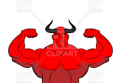 400x276 Strong Demon With Horns. Powerful Red Devil. Royalty Free Vector