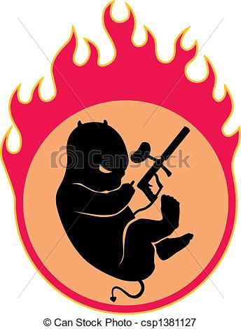 344x470 Burn. Small Demon In A Fiery Womb Vectors Illustration