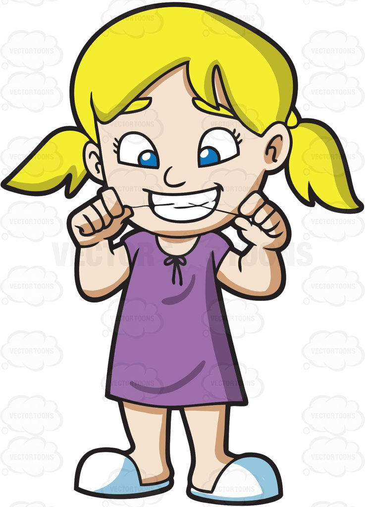 737x1024 A Girl Flossing Her Teeth Before She Goes To Bed Cartoon Clipart