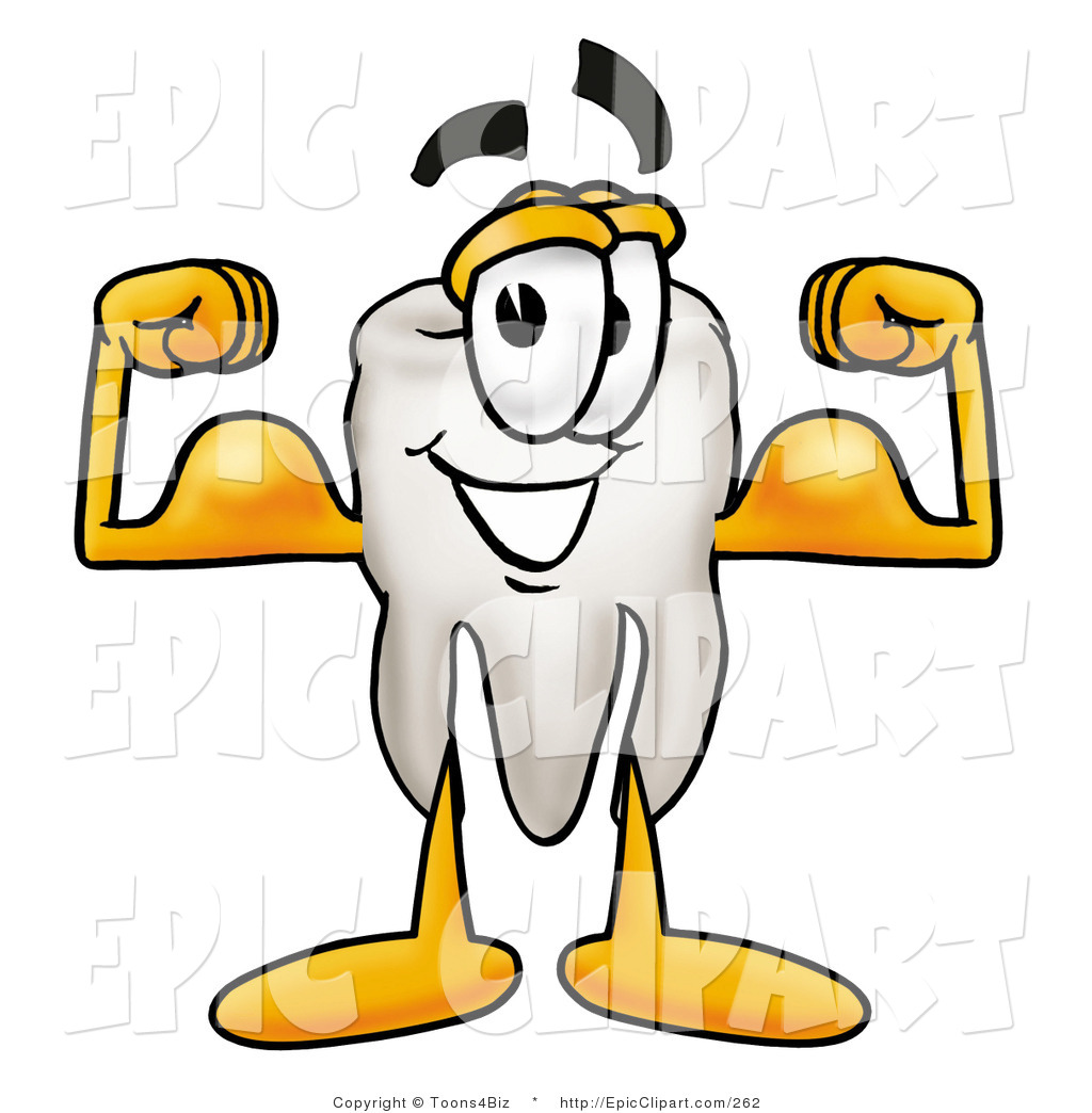 1024x1044 Clip Art Of A Strong Tooth Mascot Cartoon Character Flexing His