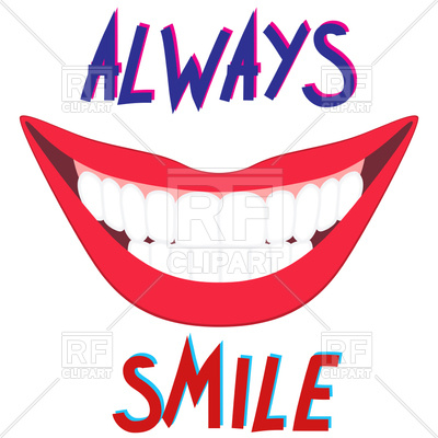 400x400 Bright Wide Healthy Smile With White Tooth Royalty Free Vector