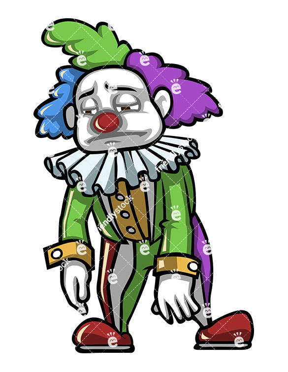 585x755 Depressed Clown Feeling Sad And Disappointed Vector Clipart