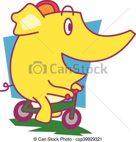 450x467 Elephant Cycling Vector Art Illustration Vector Illustration