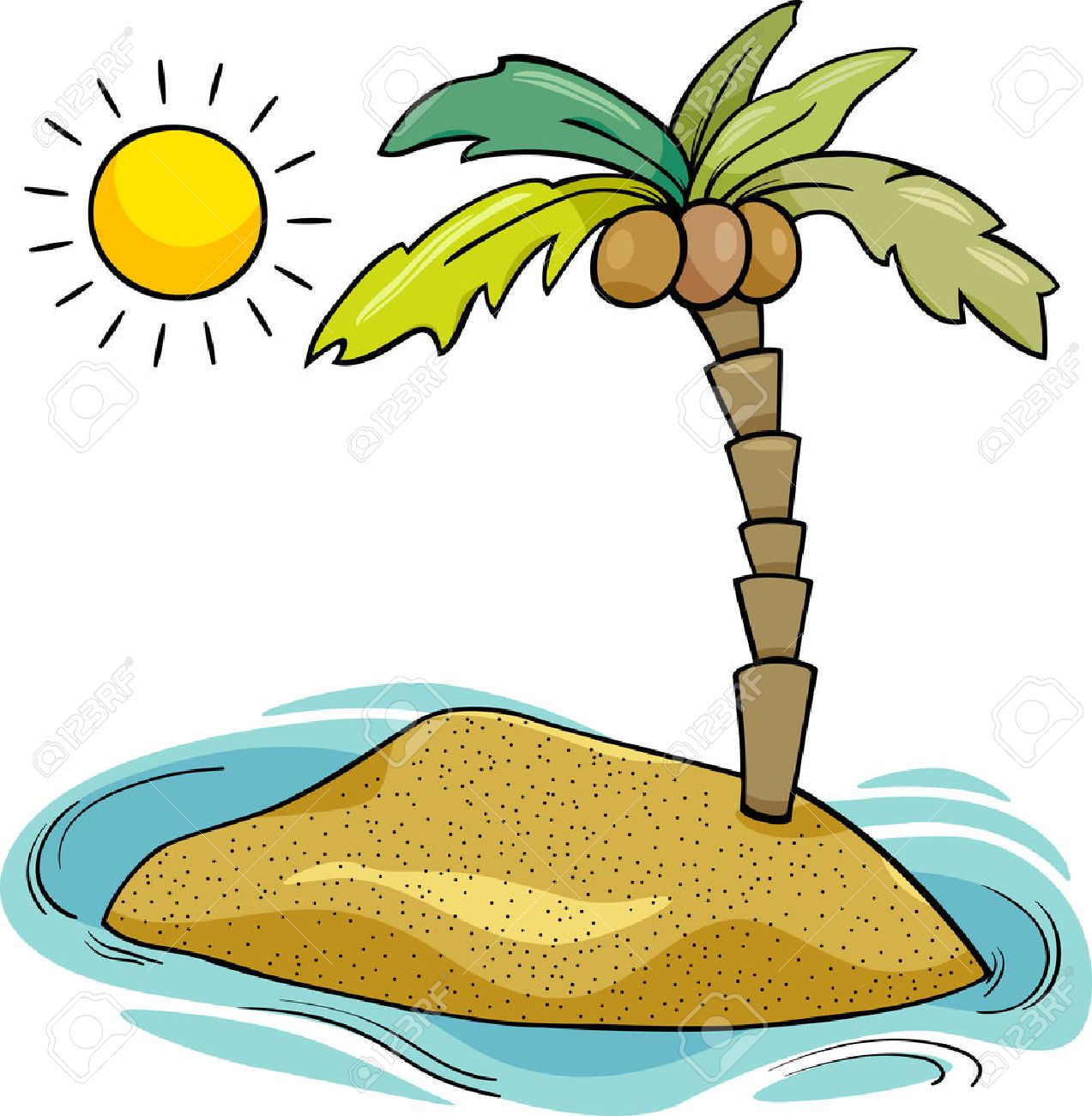 1273x1300 28384161 Cartoon Illustration Of Desert Island With Coconut Palm