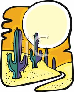 242x300 A Large Sun Over A Desert And Cacti