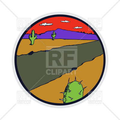 400x400 Retro Style Badge Of Desert Landscape With Cactus Royalty Free