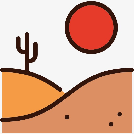 512x512 Sunset Desert Landscape Plan, Desert, Landscape, Cartoon Png Image