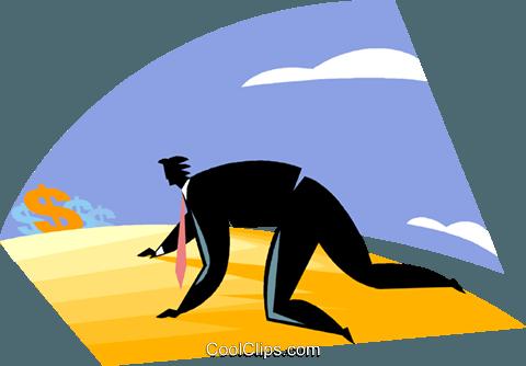 480x334 Businessman Crawling Through The Desert Royalty Free Vector Clip