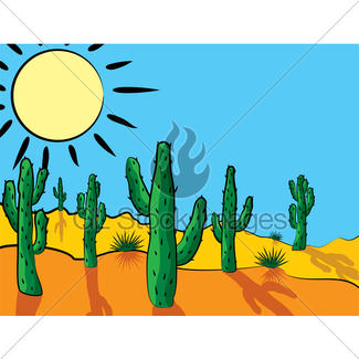 325x325 Vector Cactus Plants And Mountains In Desert Gl Stock Images