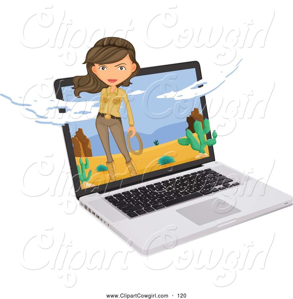 1024x1044 Clipart Of Pretty Cowgirl In Desert Scene Emerging