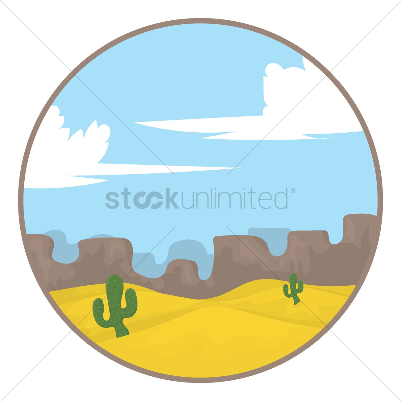 1300x1300 Scenic View Of Desert Vector Image
