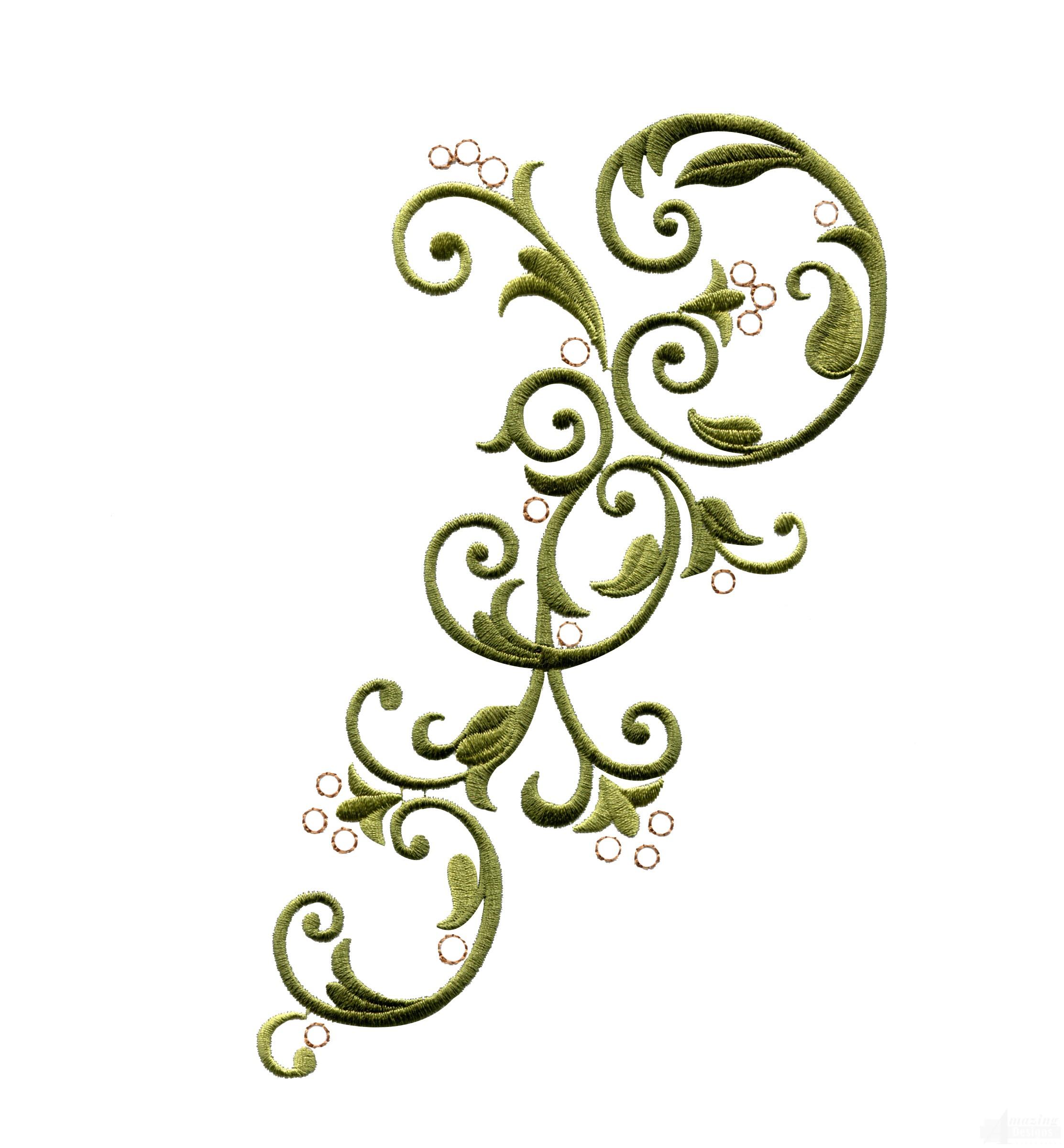 2225x2400 Clip Art Swirl Embroidery Design Clipart