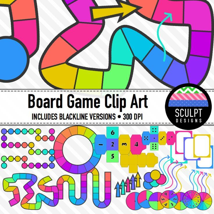 736x736 Board Game Clipart ~ Neon Colors