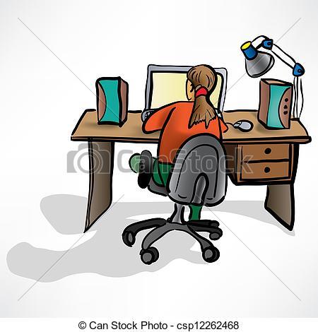 450x470 The Girl Behind The Desk Clip Art Vector