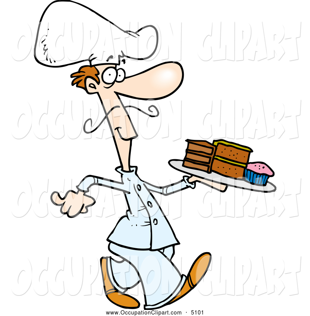 1024x1044 Clip Art Of A Cartoon Chef With A Tray Of Desserts By Toonaday