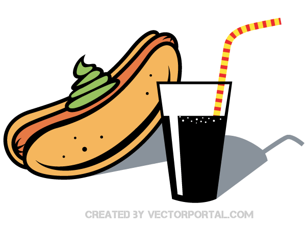 600x460 Hot Dog And Drink With Straw Clip Art Download Free Vector Art