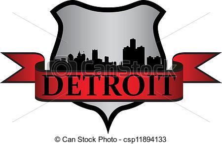 450x292 City Of Detroit Crest With High Rise Buildings Skyline Vectors