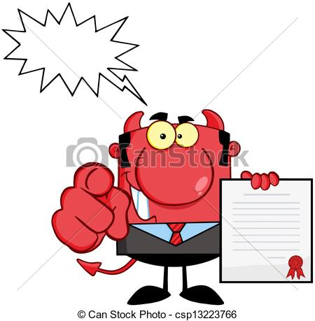 450x459 Devil Boss Holds Up A Contract And Hand Pointing Finger