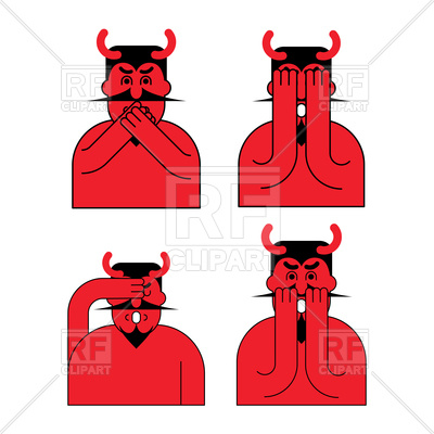 400x400 Devil Emotion Set. Oh My God Satan. Royalty Free Vector Clip Art