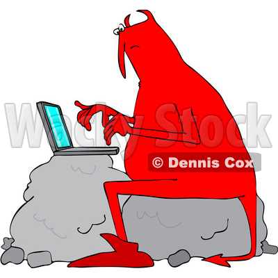 400x400 Clipart Of Chubby Red Devil Sitting On Bouldernd Using