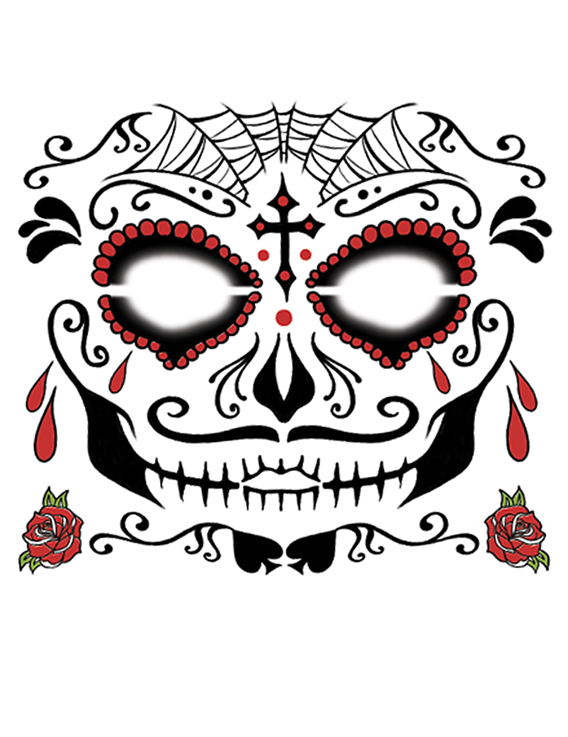 1850x2400 Dia De Los Muertos Face Tattoo For Adults Makeup,and Fancy Dress