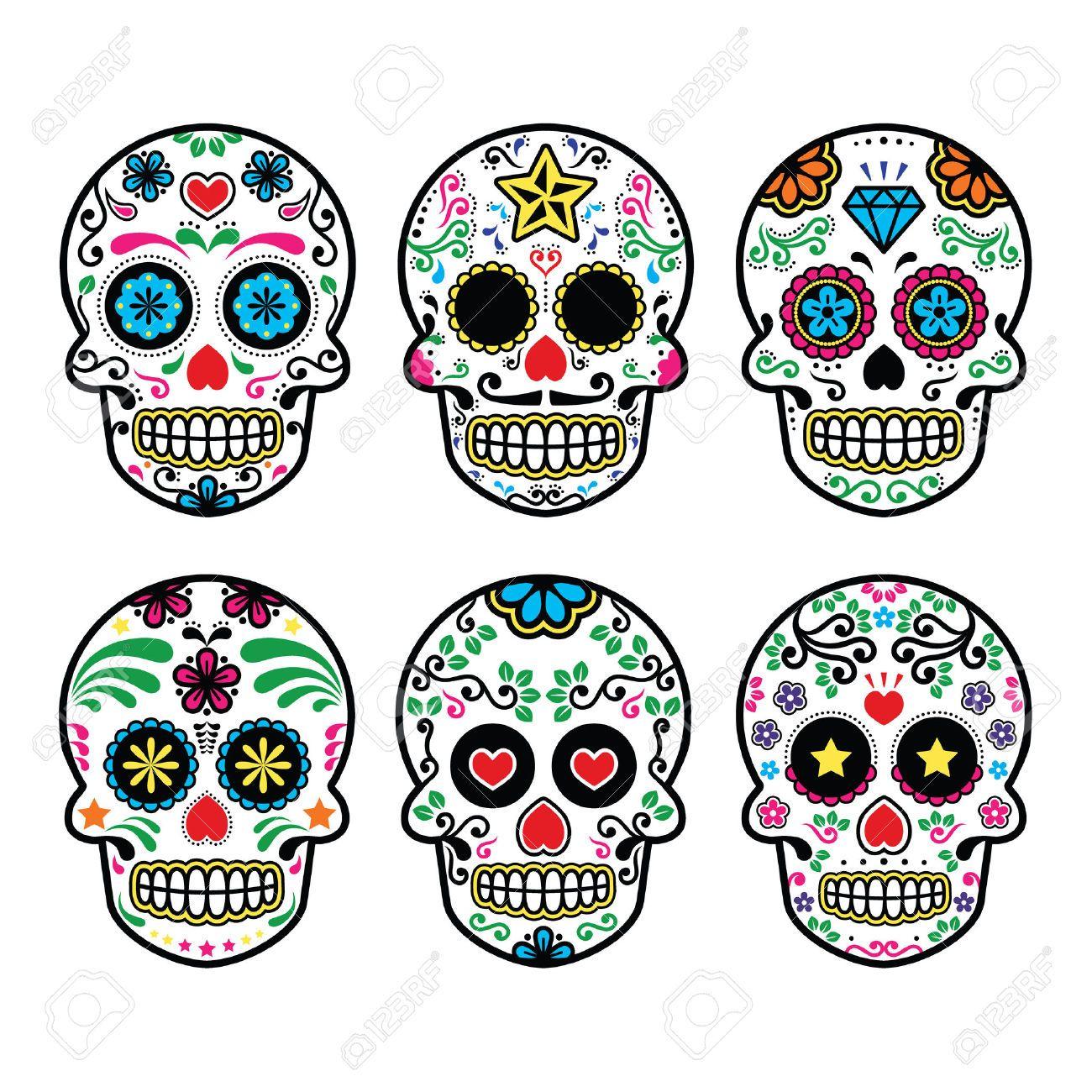 1300x1300 Mexican Sugar Skull, Dia De Los Muertos Icons Set On White