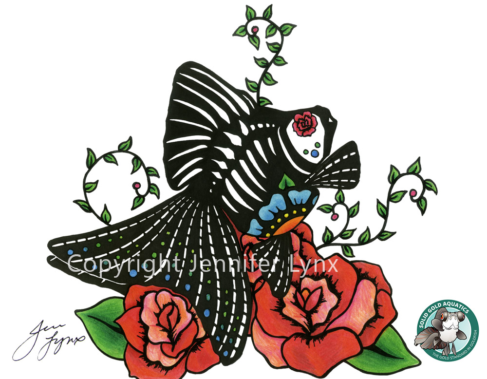 1000x778 Ryukin Amp Roses Dia De Los Muertos Style Goldfish Art Print