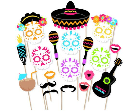 570x468 Printable Day Of The Dead Photo Booth Props