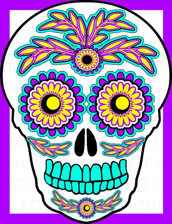 570x744 Sugar Skull Clipart Bright Free Collection Download And Share