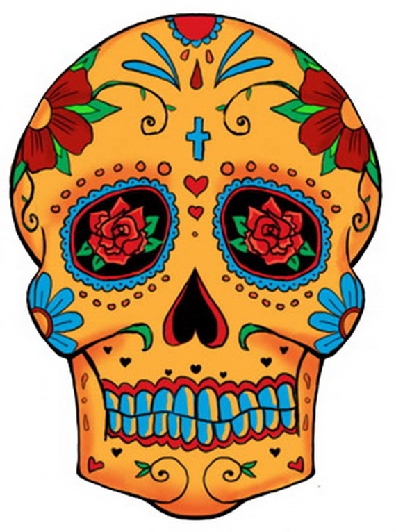 570x766 Sugar Skull Tattoos For Halloween Day Of The Dead
