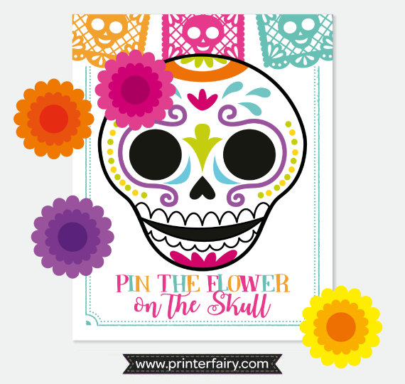 570x540 Day Of The Dead, Pin The Flower On The Skull Game, Dia De Los