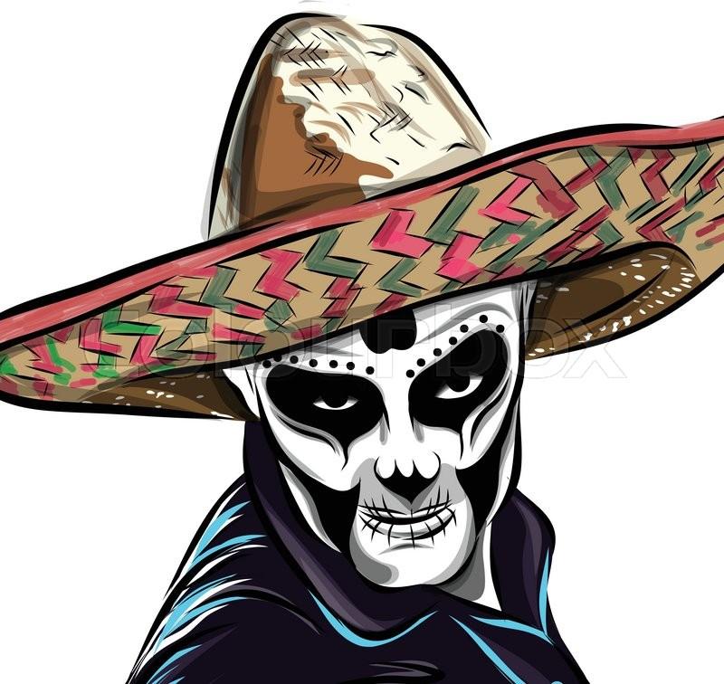 800x756 Day Dead Sugar Skull Man Vector. Mexican Skull. Day