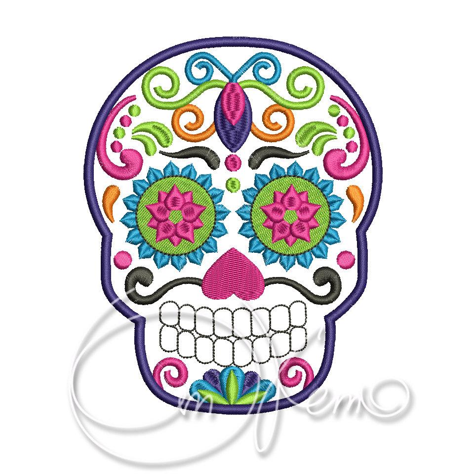 960x960 Machine Embroidery File Sugar Skull Embroidery Dia De Los