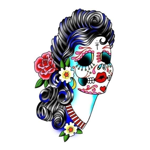570x570 Sugar Skull Clipart Print
