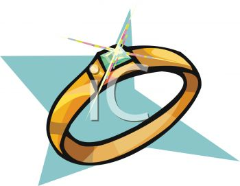 350x271 Picture Of A Gold Ring With A Shiny Diamond In A Vector Clip Art