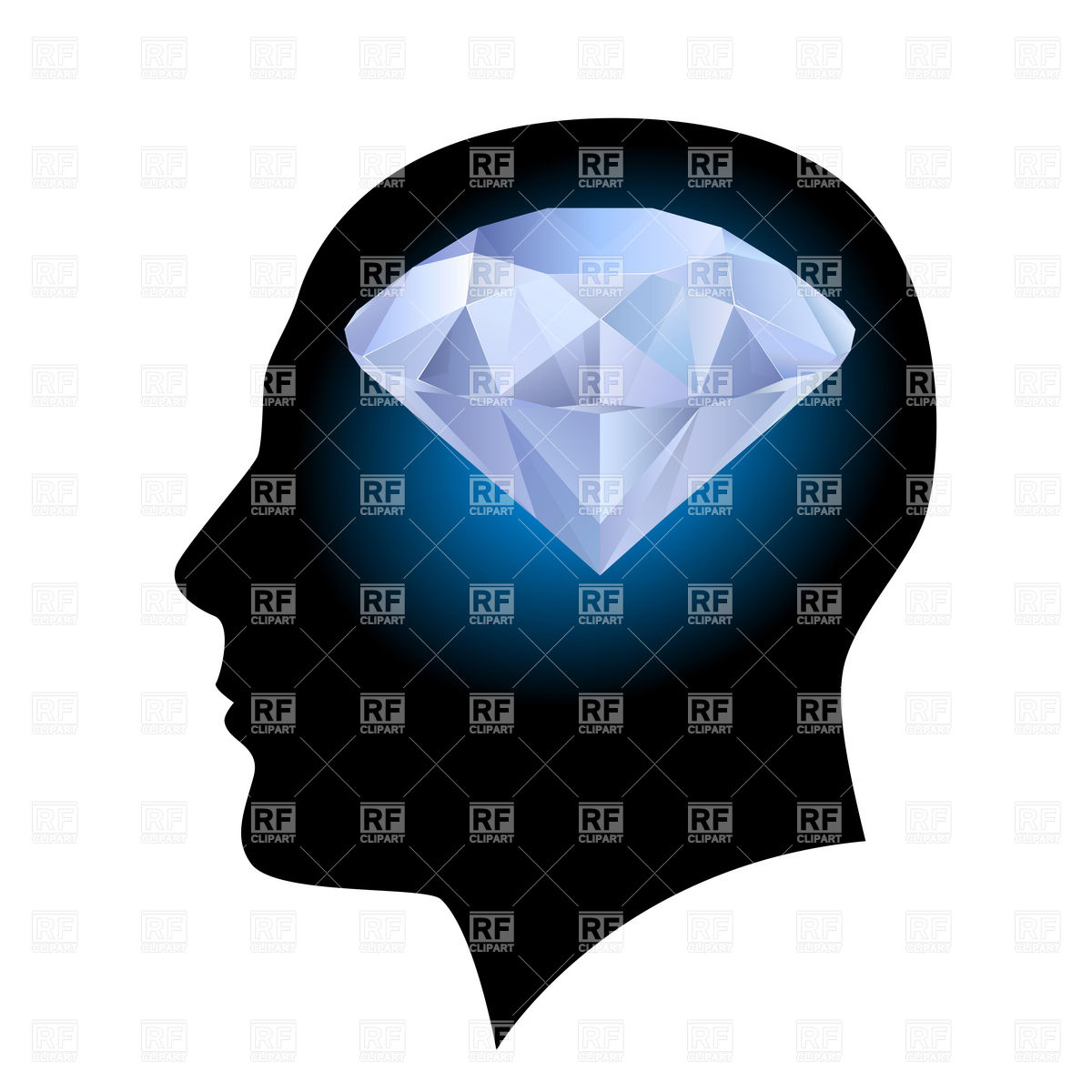 1200x1200 Man's Head Silhouette With Diamond Inside Royalty Free Vector Clip