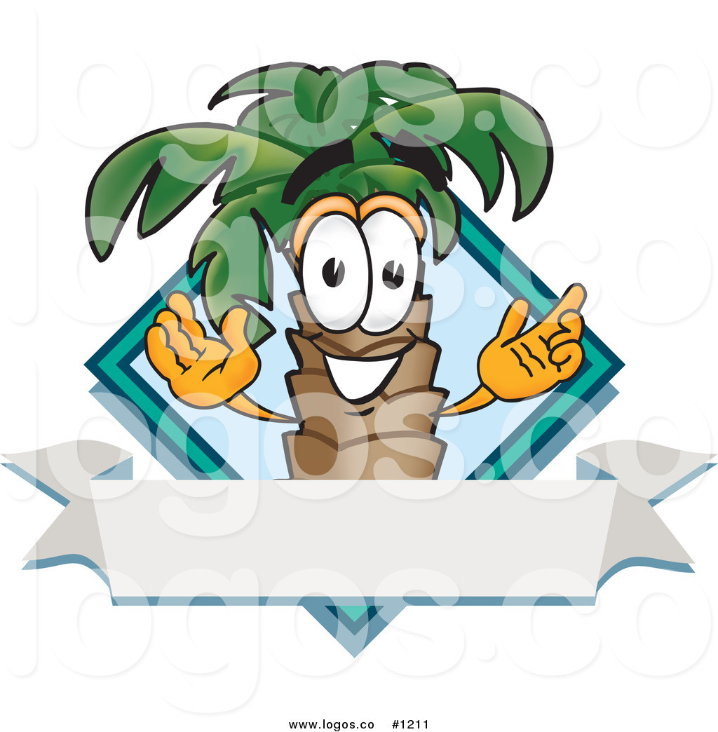 1024x1044 Royalty Free Vector Logo Of A Cartoon Palm Tree Mascot With Blank